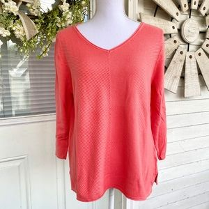 Talbots Coral Pink Textured Ribbed V Neck Sweater
